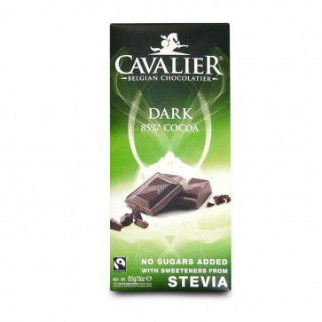 No Added Sugar Belgian Dark  Chocolate bar with Stevia 85g