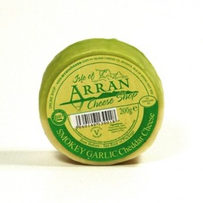 Arran smoked garlic flavoured cheddar cheese 200g truckle